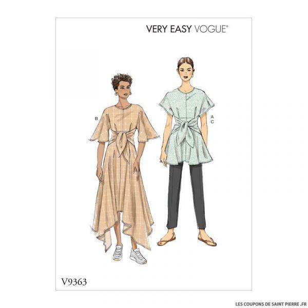 Patron Vogue V9363 : Tunique,robe et pantalon