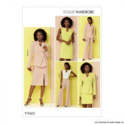 Patron Vogue V9365 : Veste, haut, robe, jupe et pantalon