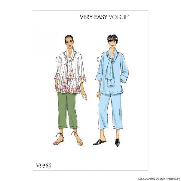 Patron Vogue V9364 : haut, écharpe et pantalon