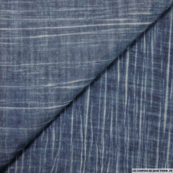 Voile de polyviscose imprimée tie and dye bleu foncé