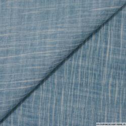 Voile de polyviscose imprimée tie and dye bleu clair