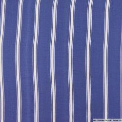 Viscose imprimée double rayure fond bleu