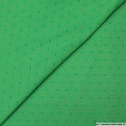 Voile de coton Plumetis vert gazon