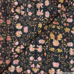 Mousseline dévorée rayures et fleurs fond noir