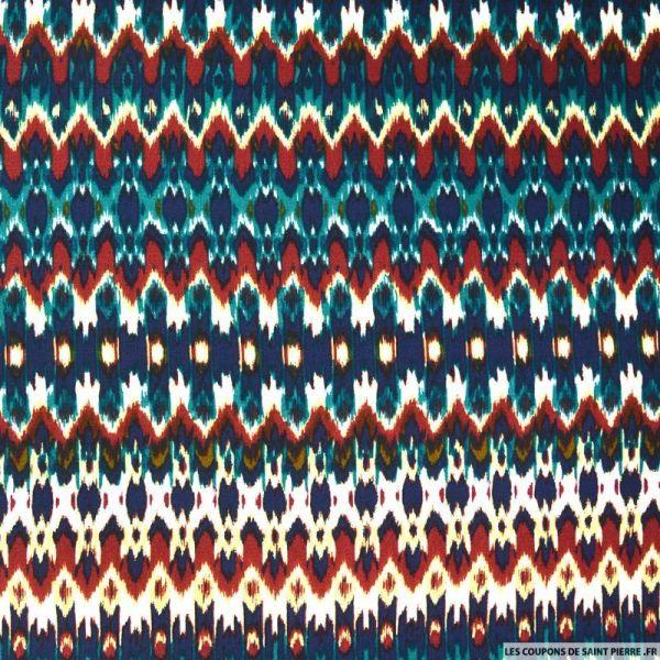 Crêpe viscose imprimé noeud papillon fond bleu roi