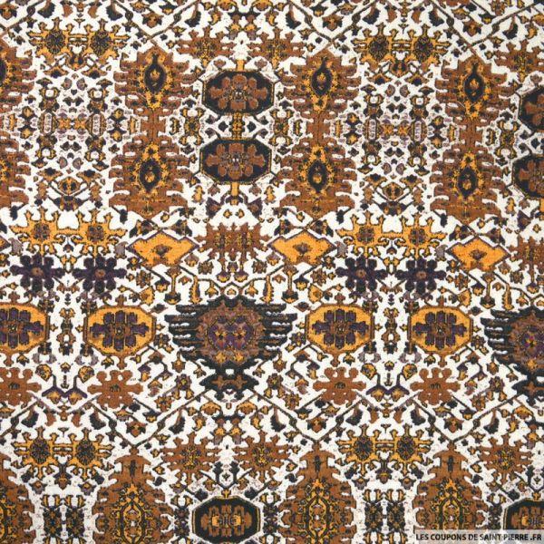 Crêpe viscose imprimé motif aztèque fond marron