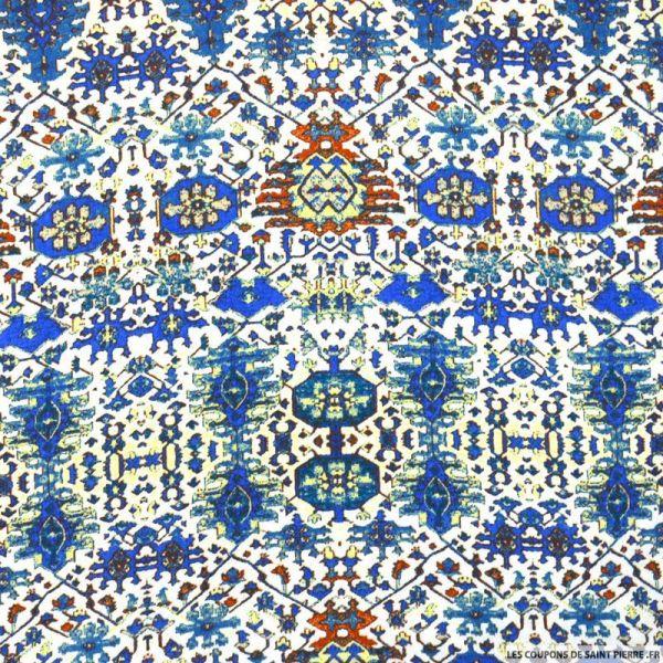 Crêpe viscose imprimé motif aztèque fond bleu