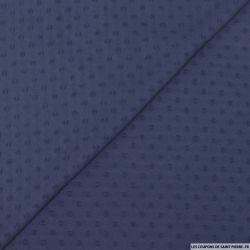 Mousseline de polyester plumetis marine