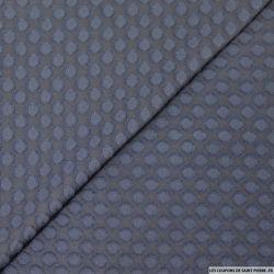 Mousseline de polyester cercle plumetis marine