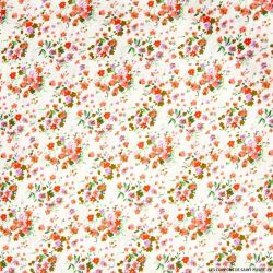 Coton imprimé fleurs sauvages rouge fond blanc