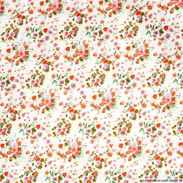 Coton imprimé fleurs sauvages fond blanc