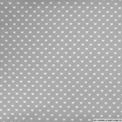 Coton gris imprimé coeurs