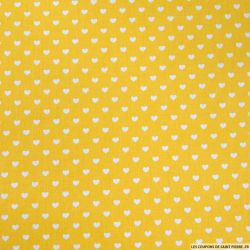 Coton jaune imprimé coeurs