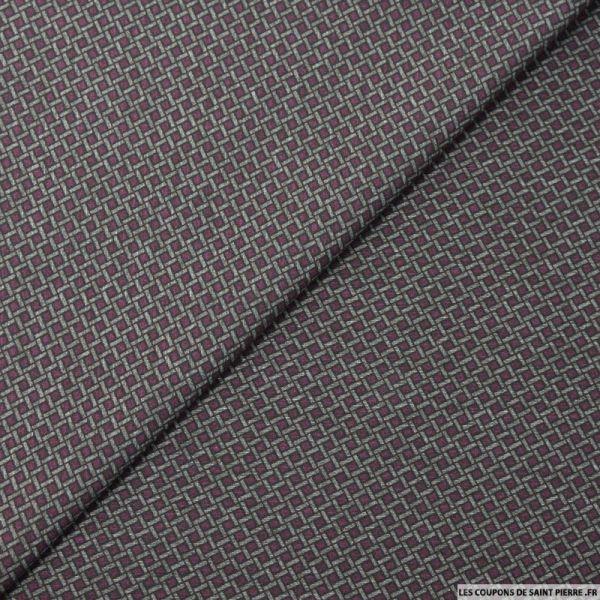 Maille Milano double face imprimé grille violet et gris