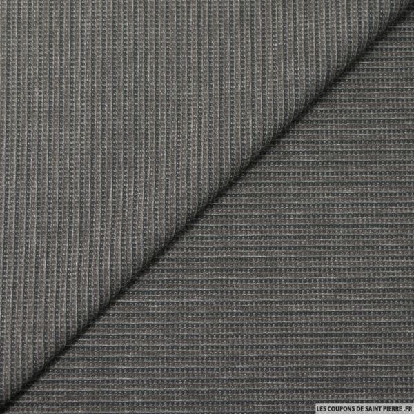 Maille Milano double face imprimé rayures marron et gris