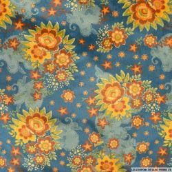Velours polyester imprimé champêtre