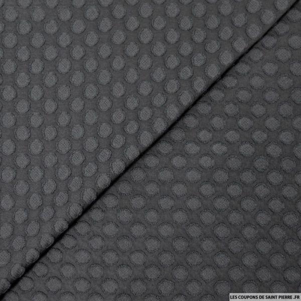 Mousseline de polyester cercle plumetis noir