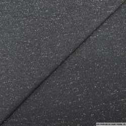 Bord côte lurex argent noir vendu au mètre