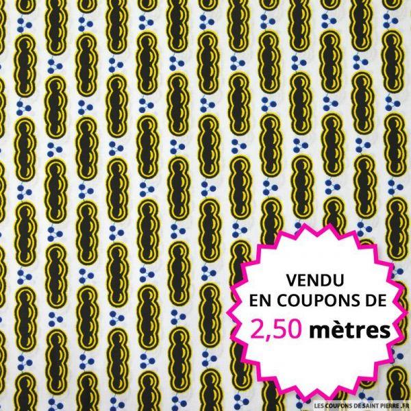 Wax africain billes fond blanc, vendu en coupon de 2,50 mètres