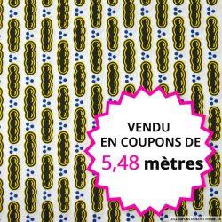 Wax africain billes fond blanc,  vendu en coupon de 5,48 mètres
