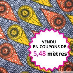 Wax africain comètes orange,  vendu en coupon de 5,48 mètres