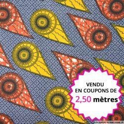 Wax africain comètes orange, vendu en coupon de 2,50 mètres