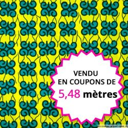 Wax africain petits motifs vert fond jaune,  vendu en coupon de 5,48 mètres