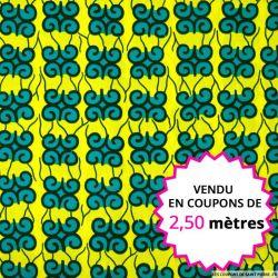 Wax africain petits motifs vert fond jaune, vendu en coupon de 2,50 mètres