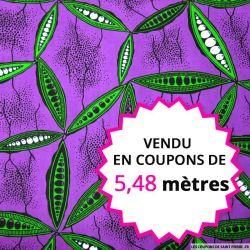 Wax africain haricot fond violet, vendu en coupon de 5,48 mètres