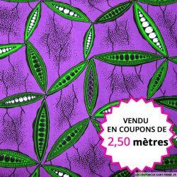 Wax africain haricot fond violet, vendu en coupon de 2,50 mètres