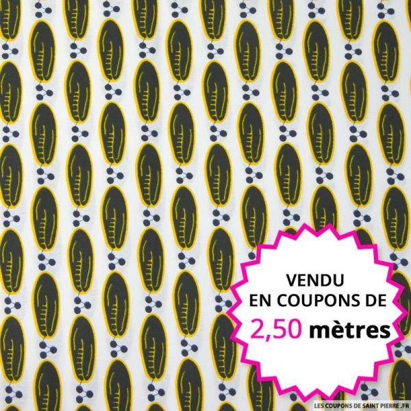 Wax africain graines fond blanc, vendu en coupon de 2,50 mètres