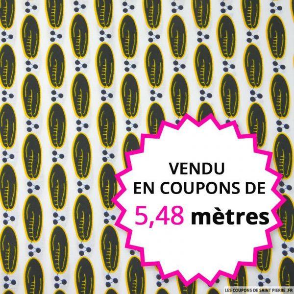 Wax africain graines fond blanc, vendu en coupon de 5,48 mètres