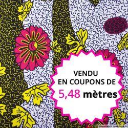 Wax africain printemps fuchsia et jaune, vendu en coupon de 5,48 mètres