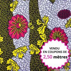 Wax africain printemps fuchsia et jaune, vendu en coupon de 2,50 mètres