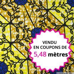 Wax africain vitraux jaune et bleu, vendu en coupon de 5,48 mètres