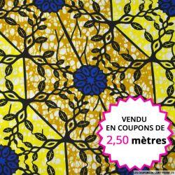 Wax africain vitraux jaune et bleu, vendu en coupon de 2,50 mètres