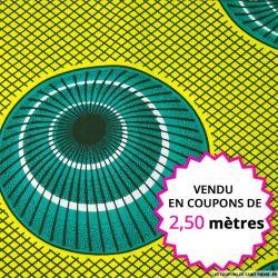 Wax africain coupole vert fond jaune, vendu en coupon de 2,50 mètres
