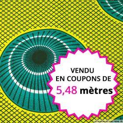 Wax africain coupole vert fond jaune, vendu en coupon de 5,48 mètres