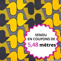Wax africain gadget marine et ocre, vendu en coupon de 5,48 mètres