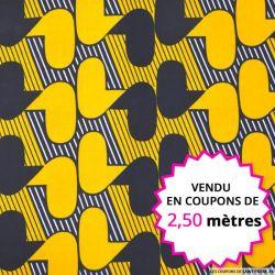 Wax africain gadget marine et ocre, vendu en coupon de 2,50 mètres