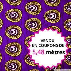 Wax africain coquillage fond violet, vendu en coupon de 5,48 mètres