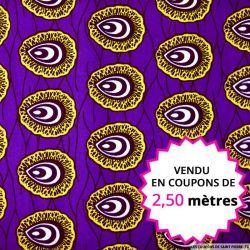 Wax africain coquillage fond violet, vendu en coupon de 2,50 mètres