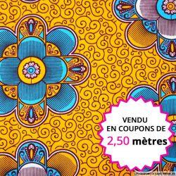 Wax africain mandala orange et bleu, vendu en coupon de 2,50 mètres