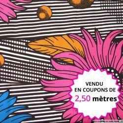 Wax africain plumes et fleurs fuchsia, vendu en coupon de 2,50 mètres