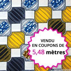 Wax africain bijoux jaune et bleu, vendu en coupon de 5,48 mètres