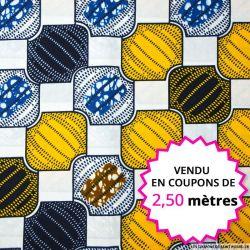 Wax africain bijoux jaune et bleu, vendu en coupon de 2,50 mètres