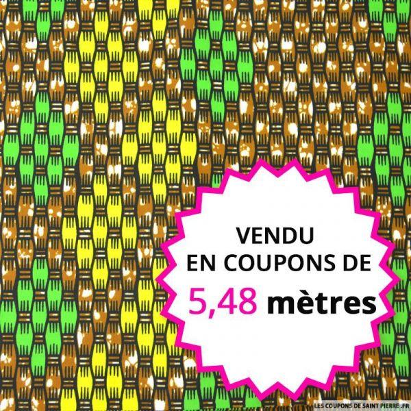 Wax africain tressage jaune et vert, vendu en coupon de 5,48 mètres