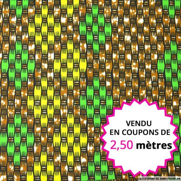 Wax africain tressage jaune et vert, vendu en coupon de 2,50 mètres