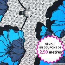 Wax africain anémone bleu, vendu en coupon de 2,50 mètres