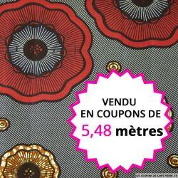 Wax africain boutons marine et bordeaux, vendu en coupon de 5,48 mètres